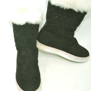 Unbranded Womens Black Faux Fur Lined Winter Boots